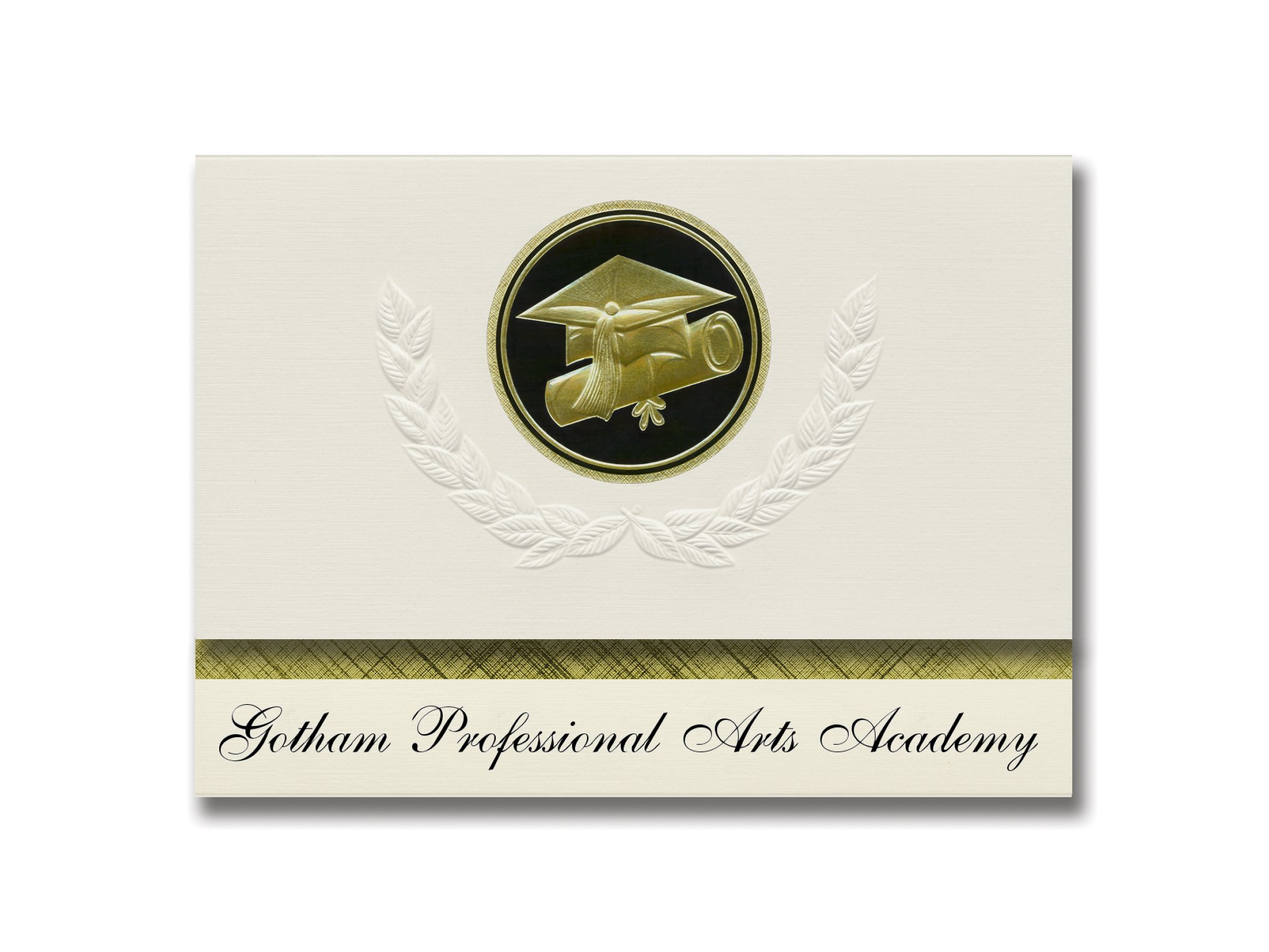 Signature Announcements Gotham Elite Arts Academy (Brooklyn, NY) Graduation Announcements, Presidential style, Elite package of 25 Cap & Diploma Seal Black & Gold