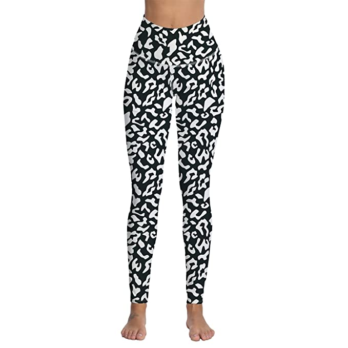 3919ec951df05 OUR WINGS Womens Leopard Printed High Waist Workout Leggings Athletic Gym  Fitness Tummy Control Yoga Pants