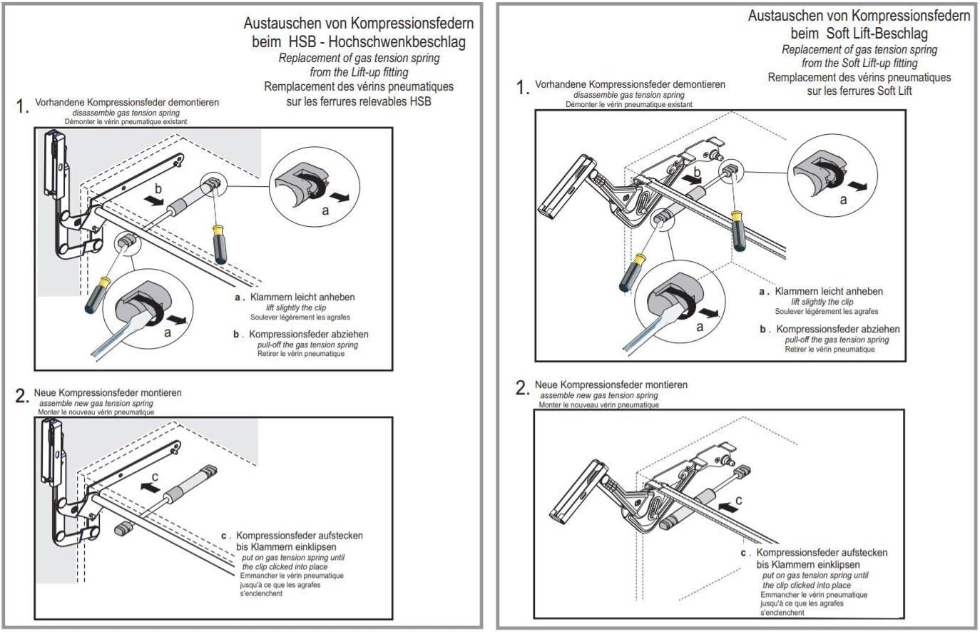 FURNICA 2X Acoplamiento de resorte de compresi/ón y montaje de puerta para Kesseb/öhmer Lift-O-Mat 2X 250N