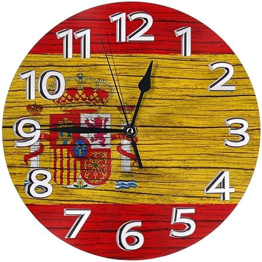 Eileen Max España Textura de Madera Bandera española Inicio Reloj de Pared Decoración Ronda Interior Cocina Personalidad Dormitorio Sala de Estar: Amazon.es: Hogar