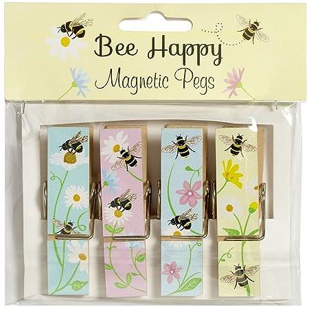 Novelty Fridge Magnets Gisela Graham Boxed Set of Floral Fridge Magnet Pegs