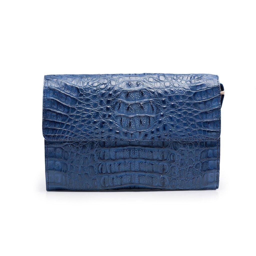 ZRO Men's Designer Crocodile Leather Long Wallets Purses Wrist Clutch Leather Business Handbags BLUE