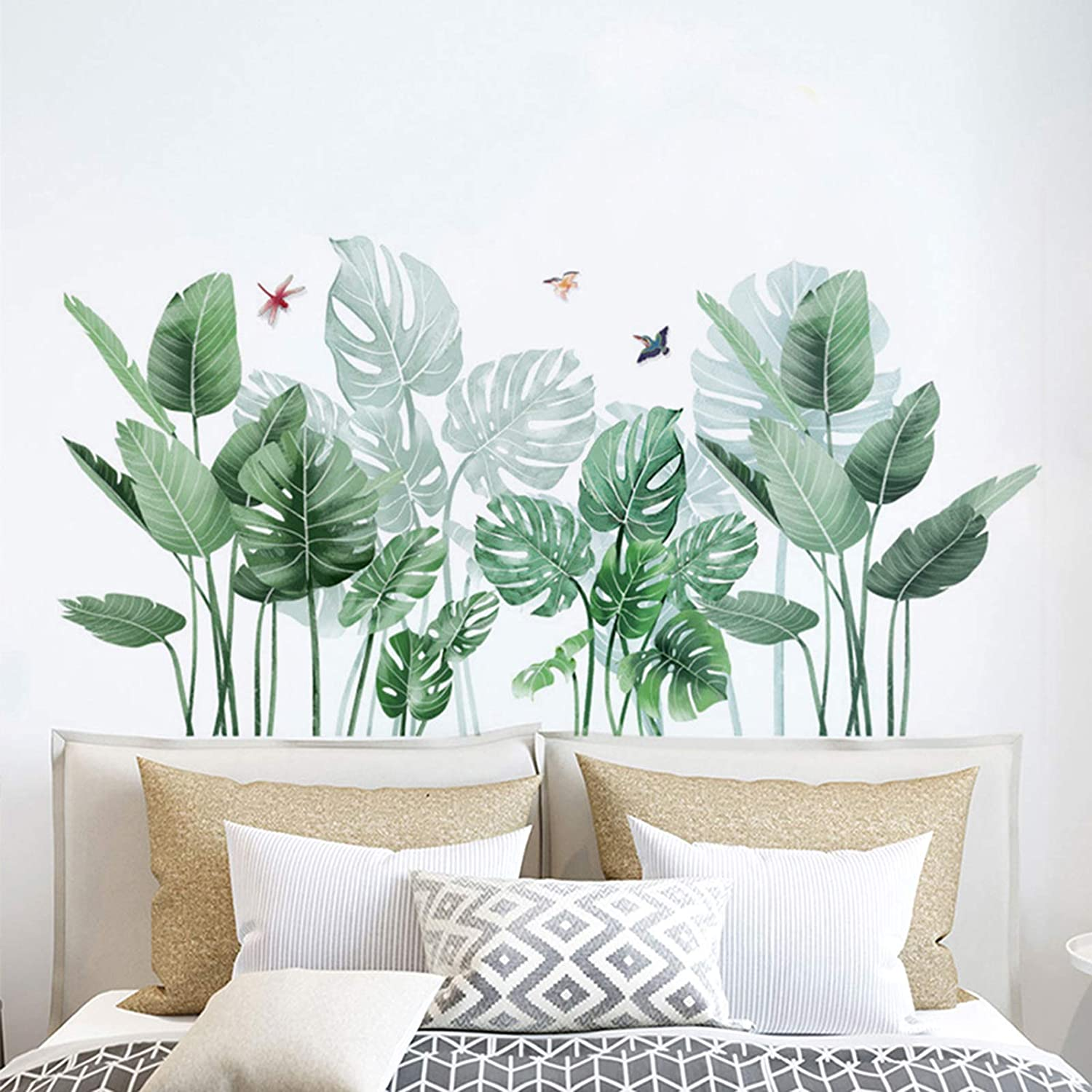 Eutecado Tropical Plants Wall Stickers, Fresh Leaves Wall Decals Monstera Palms Tree Leaf Wall Posters, Creative Vinyl Wall Murals for Nursery Bedroom Office
