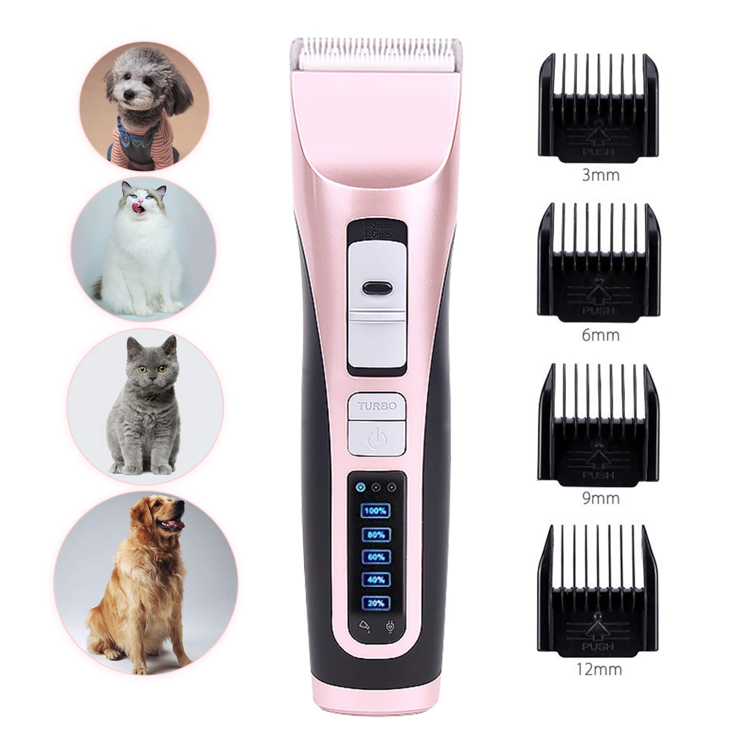 AlfaView Dog Clippers Professional Cordless Pet Hair Grooming Kit 3-Speed&4-Length Adjustment 5 Level Electricity LCD Display Rechargeable Shaver Clippers for Small Medium Large Dogs Cats Pets