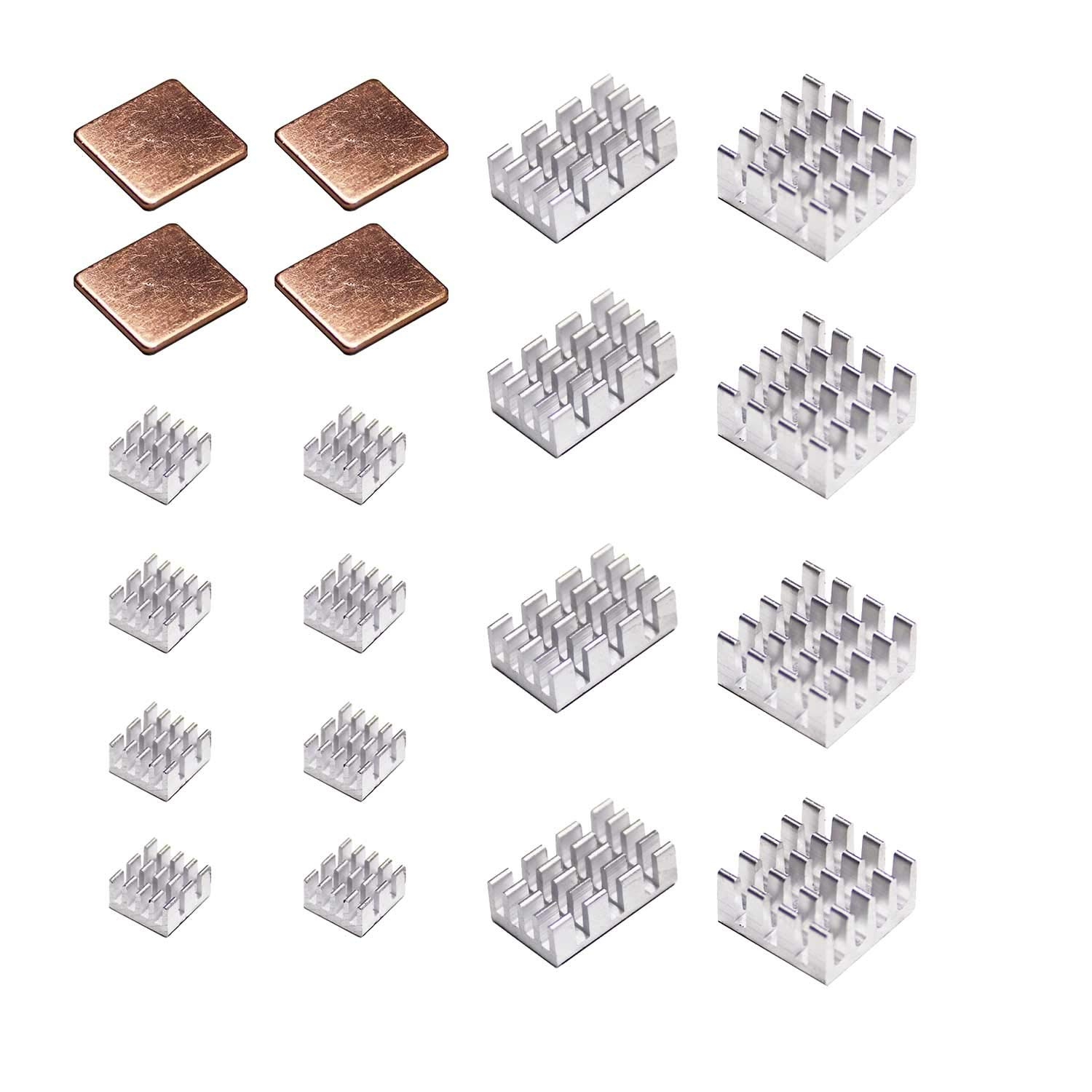 Pastall Raspberry Pi Heat Sink Cooler and Copper Heatsink for Raspberry Pi B B+ 2/3/4, Heatsink Copper Pad Shims with Adhesive Tape (4copper+16aluminum)
