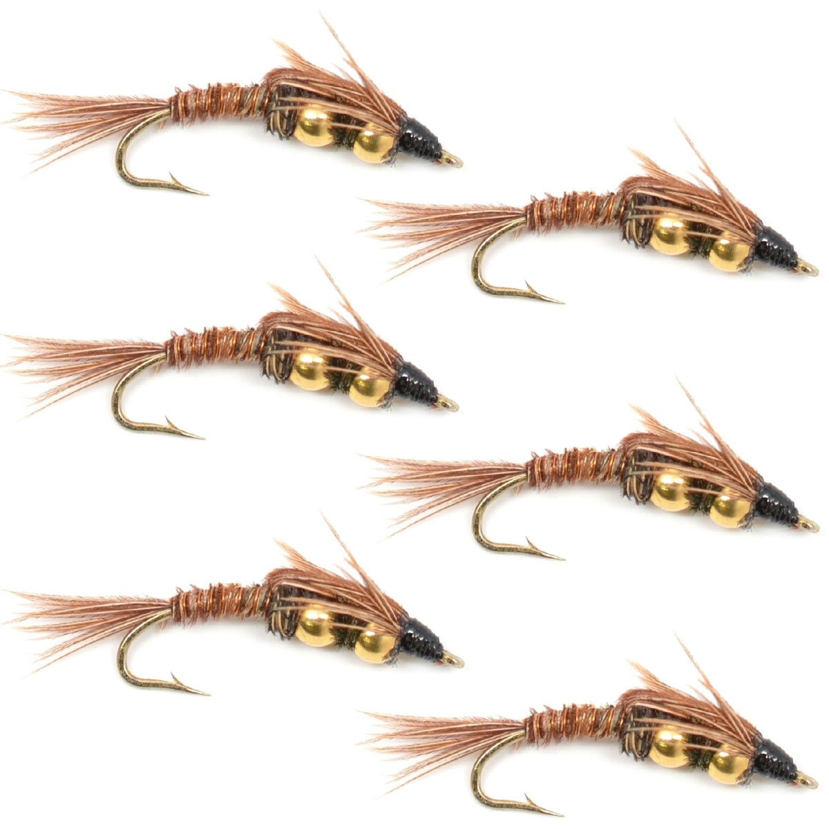 Double Bead Pheasant Tail Nymph Fly Fishing Flies - Trout and Bass Wet Fly Pattern - 6 Flies Hook Size 10 by The Fly Fishing Place