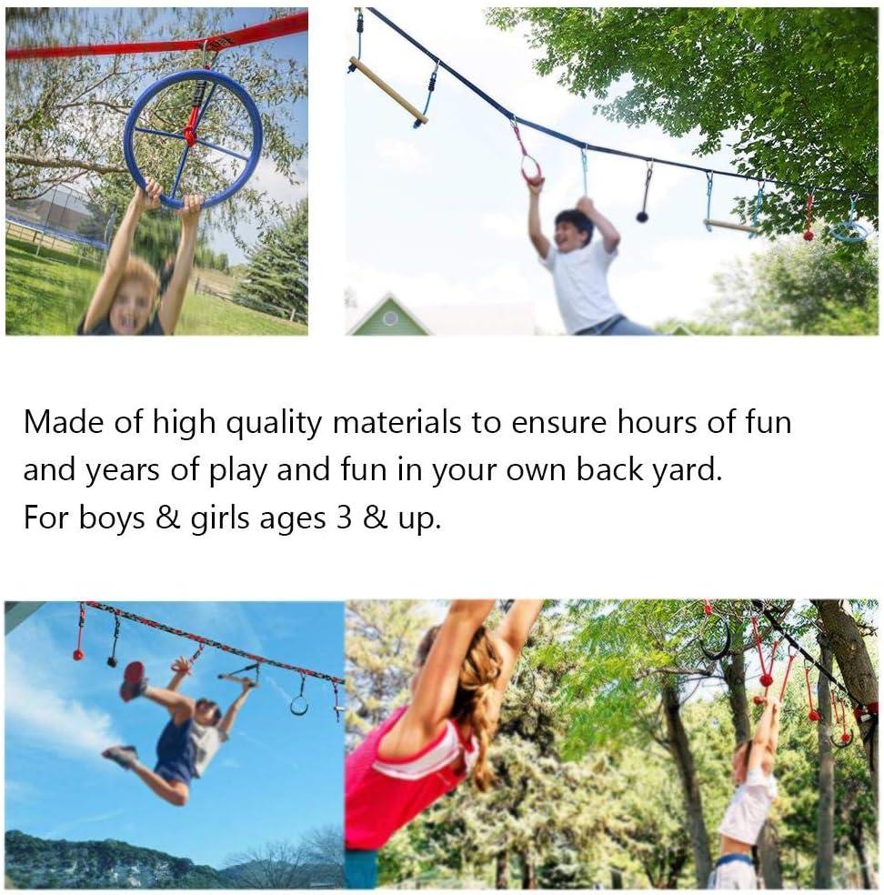 /Übungen Klettertraining Outdoor-Fitnessger/äte f/ür Kinder perpetualu Ninja Line Wheel