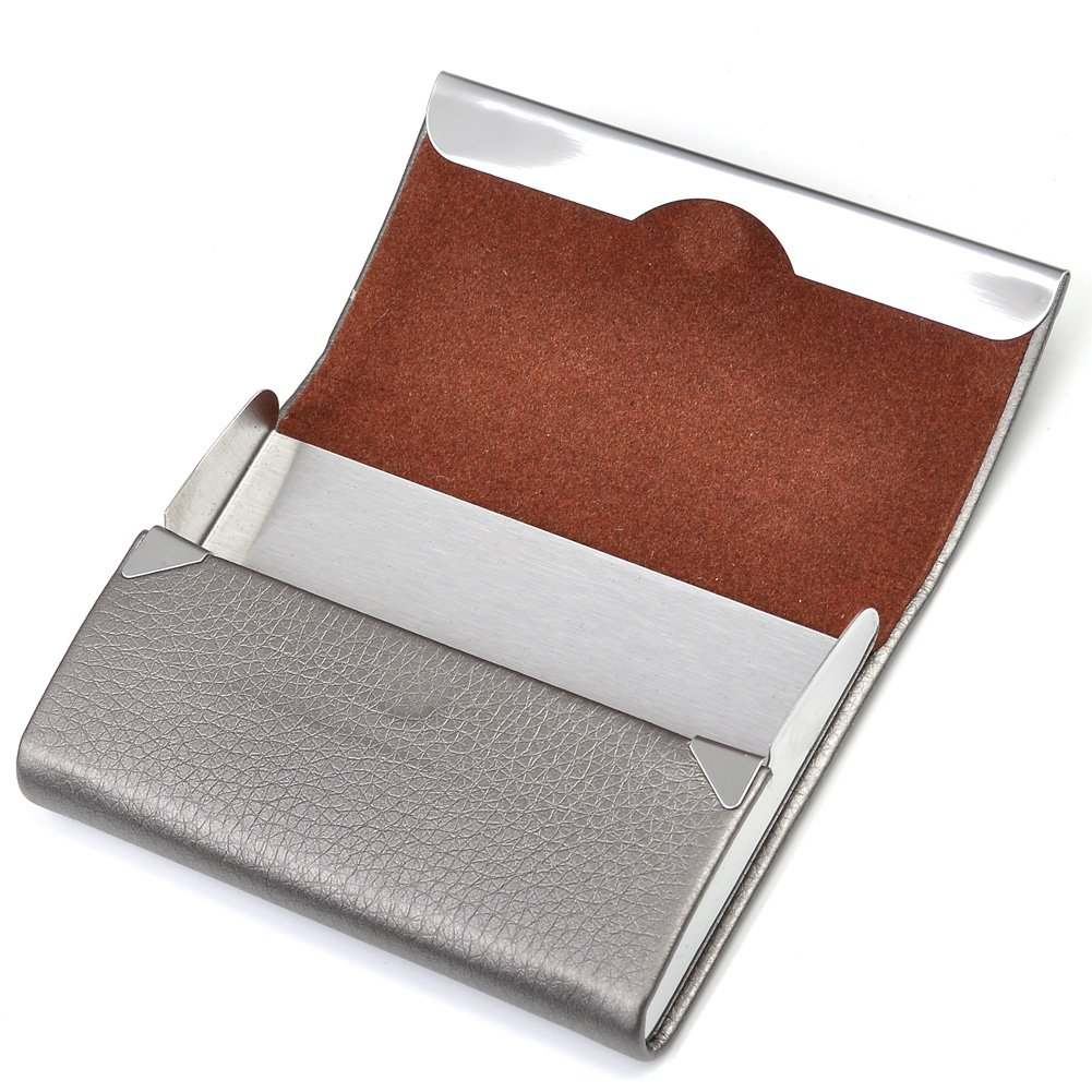Ayliss Custom Engraved Card Case Top Quality Stainless Steel Leather Card Holder with Magnetic Shut