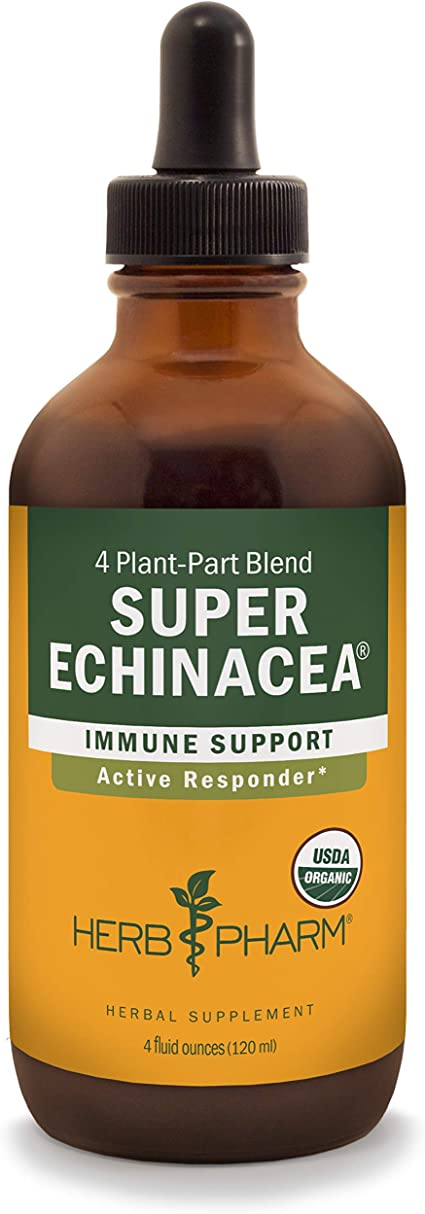 Herb Pharm Certified Organic Super Echinacea Liquid Extract for Active Immune System Support - 4 Ounce