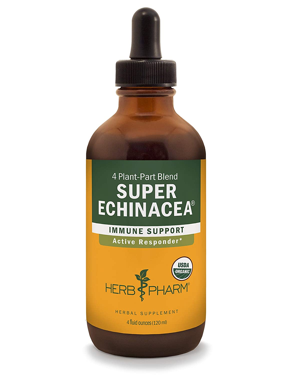 Herb Pharm Certified Organic Super Echinacea Liquid Extract for Active Immune System Support – 4 Ounce