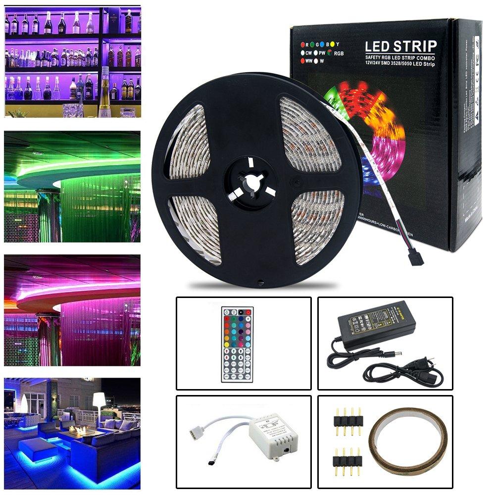 Neraon 16.4ft (5M) led Light Strip Kit, 12V DC Flexible Light Strips, 300 LEDs SMD 5050 RGB LED Light Strip, led Strip Lights Remote 44Key IR Remote Controller Indoor Kitchen Bedroom Party