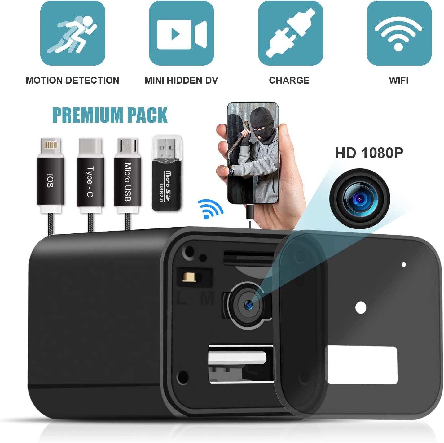 USB Spy Camera Charger,WiFi Hidden Camera Charger,Spy Camera Wireless Hidden 1080P HD Live Streaming with App, Nanny Cam Motion Activated,Supports 128GB Card,Works with iOS and Android 2019 Upgrade