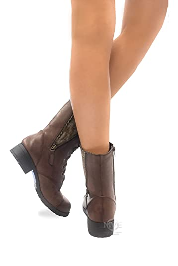 Women's Oracle Lace-up Combat Folded Cuff Riding Mid-Calf Boots