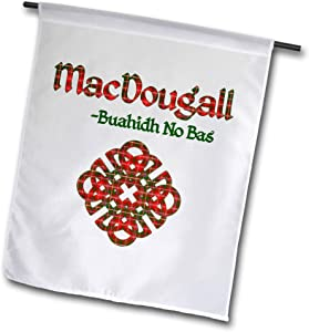 3dRose Macdonald Creative Studios – Celtic - Celtic Knot in The Tartan Colors for MacDougall Clan and Family Motto - 12 x 18 inch Garden Flag (fl_318277_1)