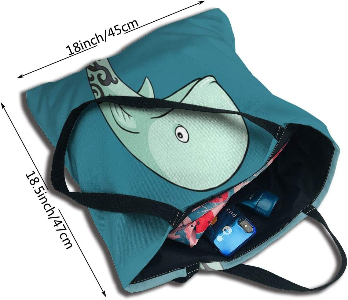 PengMin Cartoon Funny Whale Fashion Womens Multi-Pocket Vintage Canvas Handbags Miniature Shoulder Bags Totes Purses Shopping Bags