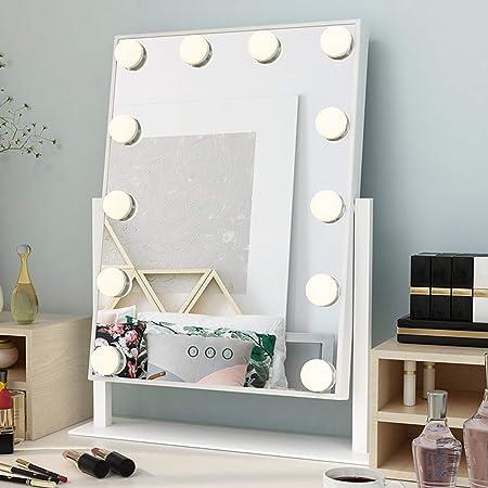 Ovonni Miroir Maquillage Lumineux Led Tactile Pliable Eclairage 21 Empoules Leds Luminosite Reglable Avec 2x 3x Grossissant Petit Miroir A Ventouse