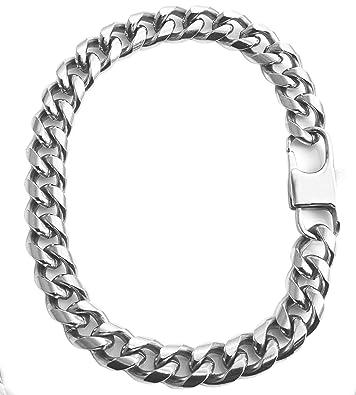 Amazon.com: Cadena de plata maciza cubana de acero ...