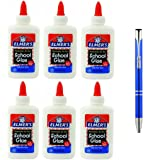 Elmer's Washable No-Run School Glue, 4 oz, 6 Bottles (E304) and a Plexon Metal Roller Pen