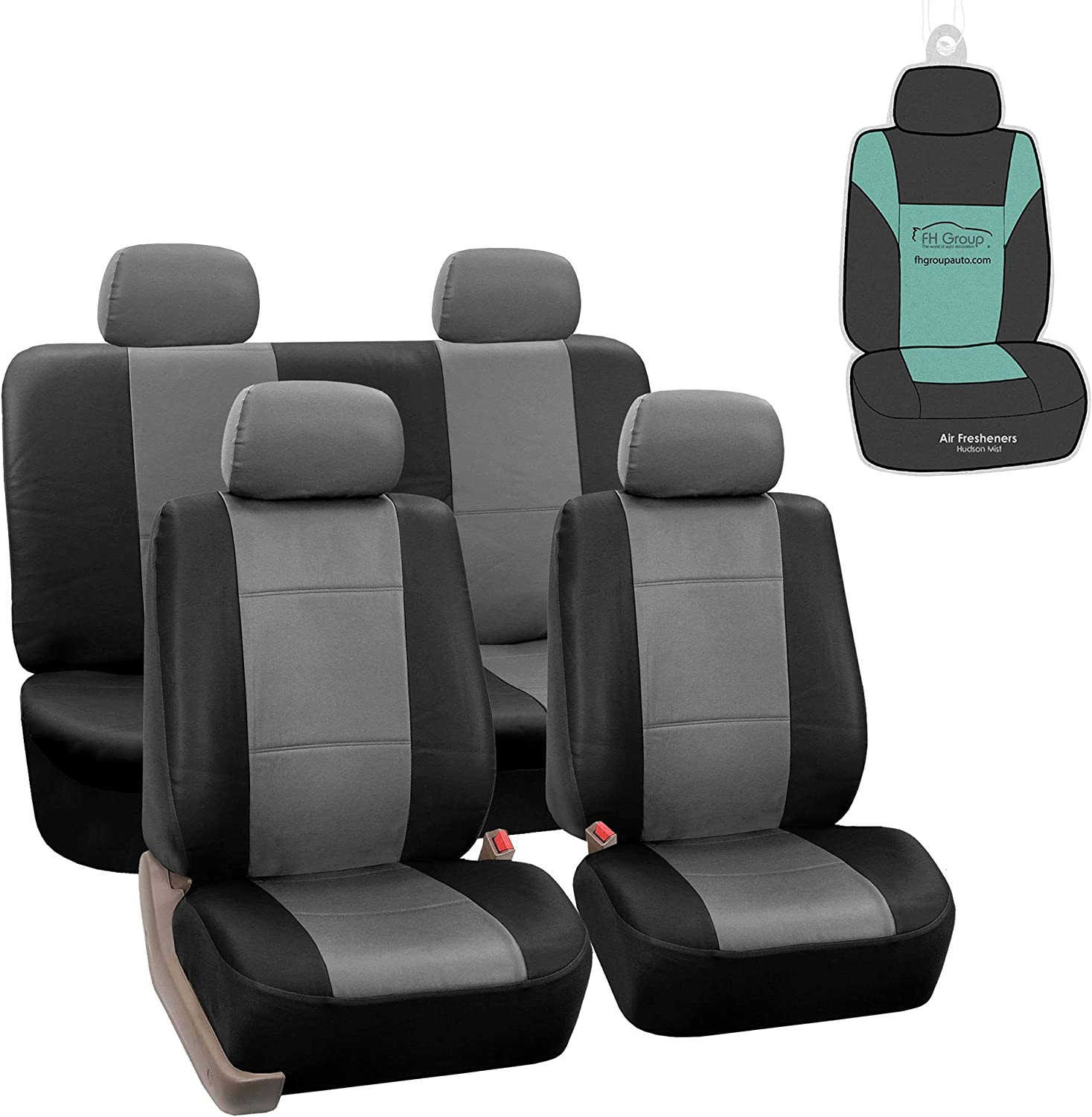 FH Group PU002114 Premium PU Leather Seat Covers (Gray) Full Set with Gift – Universal Fit for Cars Trucks and SUVs