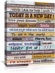 Inspirational Wall-Art for Office Bathroom-Bedroom Living-Room Decor, Motivational Canvas Paintings Farmhouse Wall Art, Inspiring Wall Poster brown Picture Artwork for Home, Wood Frame Size 12