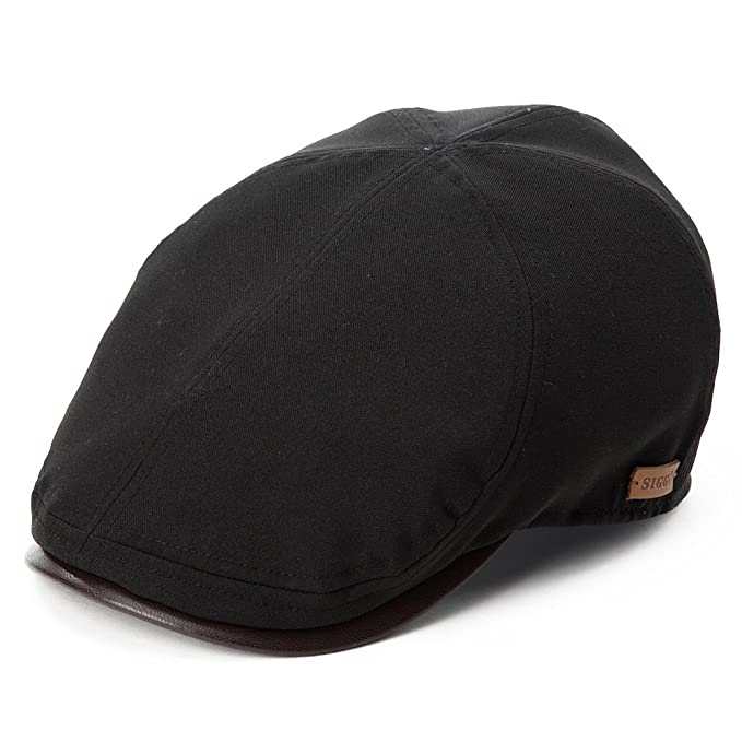 82cd8d1634a SIGGI Mens Flat Duckbill Hat English Irish Newsboy Driver Cap PU Visor  Spring Summer Black