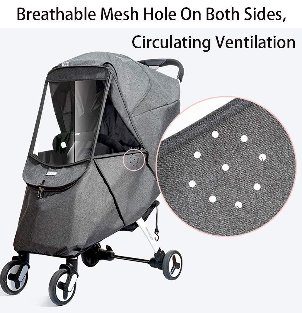 Baby Stroller Sun Shade Canopy,Universal Baby Sunshade,Zippered Infant Insect Netting Cover Awning Waterproof and Windproof by ACOMG (Image #2)