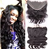 """Top Grade 100% Human Hair Brazilian Virgin Hair Lace Frontal Closure 13X6"""" Body Wave Nautral color density 130% Bleached knots (12inch)"""