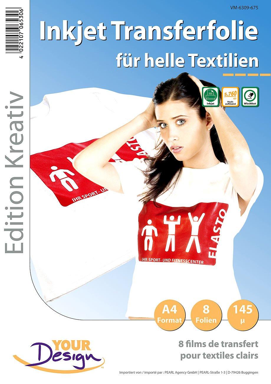 Your Design Bügelfolie: 8 T-Shirt Transferfolien für weiße Textilien A4 Inkjet (Textilfolie)