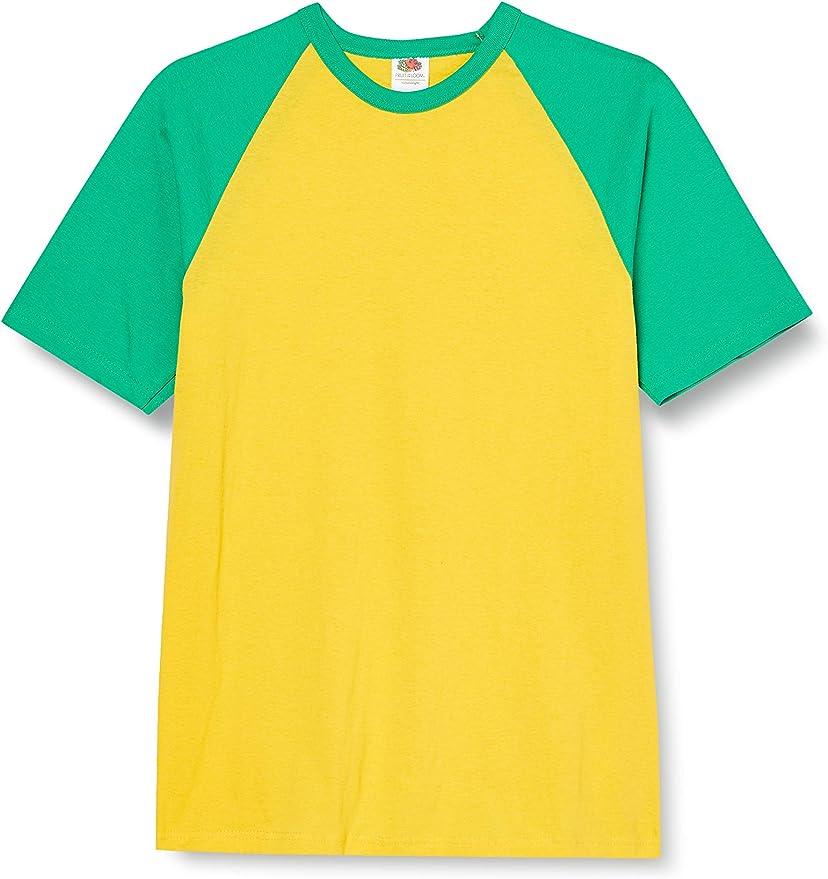Fruit of the Loom Sleeved Baseball T-Shirt Mens Raglan Shirt