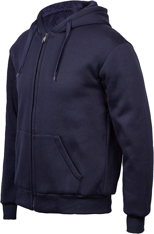Mens Winter Heavyweight Fleece Hoodie Jackets Sherpa Lined with Full Zip