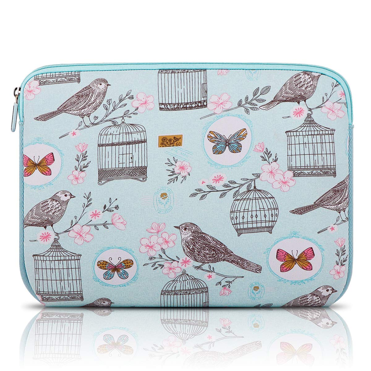 Arvok 13-14 Inch Laptop Sleeve Multi-Color & Size Choices Case/Water-Resistant Neoprene Notebook Computer Pocket Tablet Carrying Bag Cover, Blue Bird