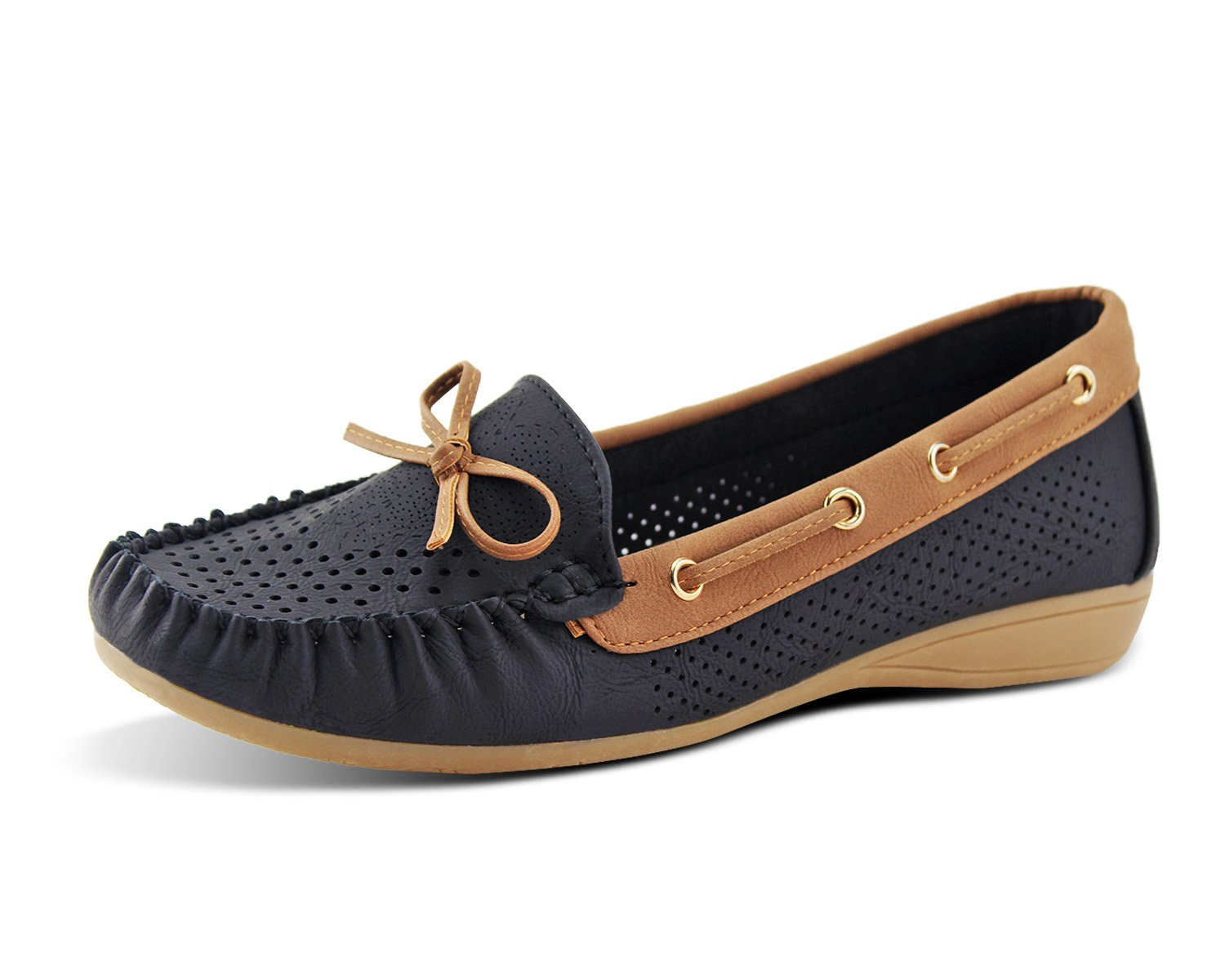 Jabasic Lady Comfort Slip-on Loafers Hollow Driving Flat Shoes(7,Black-1)