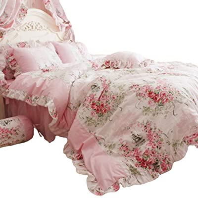 FADFAY Home Textile Pink Rose Floral Print Duvet Cover Bedding Set for Girls 4 Pieces Twin XL Size: Home & Kitchen