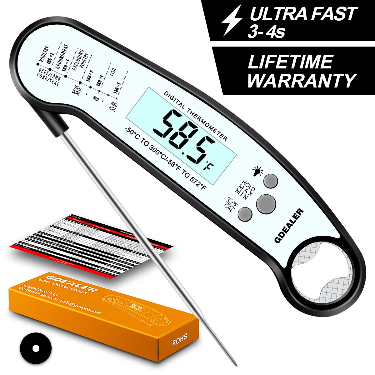 GDEALER DT13 Digital Waterproof Instant Read Meat Thermometer with Backlight Calibration Bottle Opener for Kitchen Cooking Candy Food Grilling BBQ Baking Oil Deep Fly by GDEALER