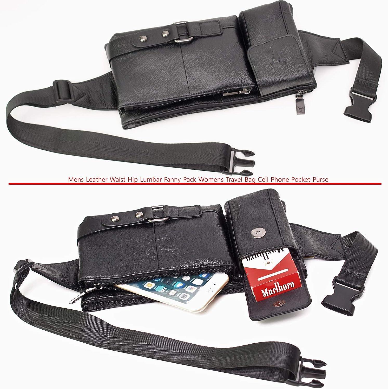 Mens Leather Waist Hip Lumbar Fanny Pack Womens Travel Bag Cell Phone Pocket Purse Black 30141