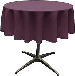 "LA Linen Polyester Poplin Round Tablecloth, 58"", Eggplant"