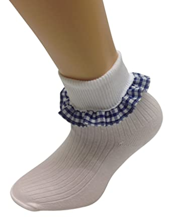 6241db7996a09 Girls Soft White Cotton Ankle Socks Turn over Top, 3 pairs with Gingham  Trims School Sizes and Colours. UK Made.: Amazon.co.uk: Clothing