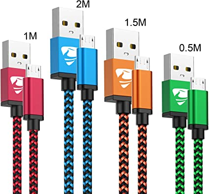 Cable Micro USB Aioneus 4 Pack [0.5M 1M 1.5M 2M] Nylon 2.4A Carga ...