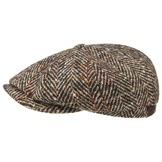 f7b8c0bd1 Stetson Hatteras Herringbone Flat Cap Men | Made in The EU Newsboy Winter  with Peak, Lining Autumn-Winter