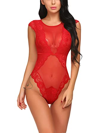 Avidlove Femme Lingerie Sexy Body Manches Courtes Nuisette Babydoll ... b6c37b2c5be