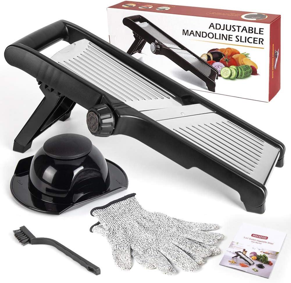 MDCGFOD Mandoline Slicer Stainless Steel Adjustable Blade Julienne Slicer Vegetable Slicer Onion Slicer Potato Chip French Fry Cutter Food Slicer for Kitchen Comes with One Pair Cut Resistant Gloves