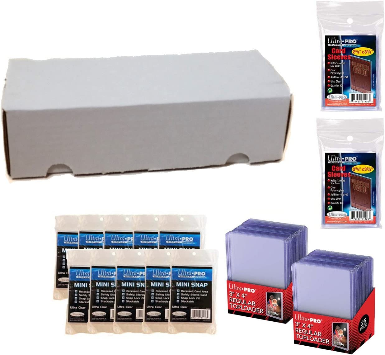 Mini Snap Holders /& 550 Count Storage Box Top Loaders Ultra Pro Card Collector Supplies Starter Kit Large Bundle Sleeves