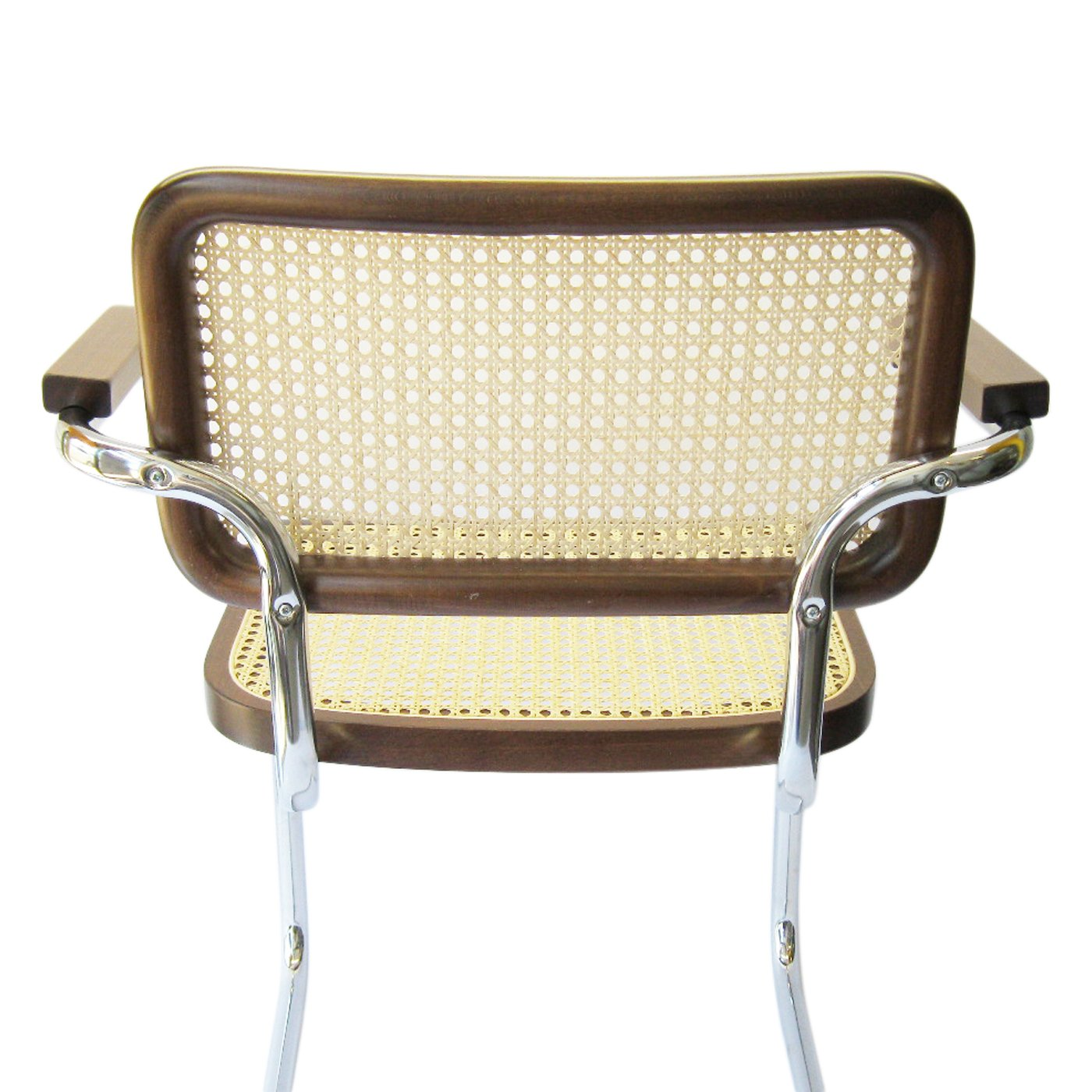 amazoncom marcel breuer cesca cane chrome arm chair in walnut chairs