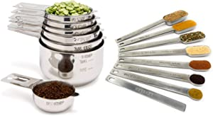 Measuring Cups and Spoons Set by Simply Gourmet. Premium Set of 15 Stainless Steel Measuring Cups and Spoons with level. Includes 7 Engraved Metal Measuring Cups and 7 Spoons Plus Level