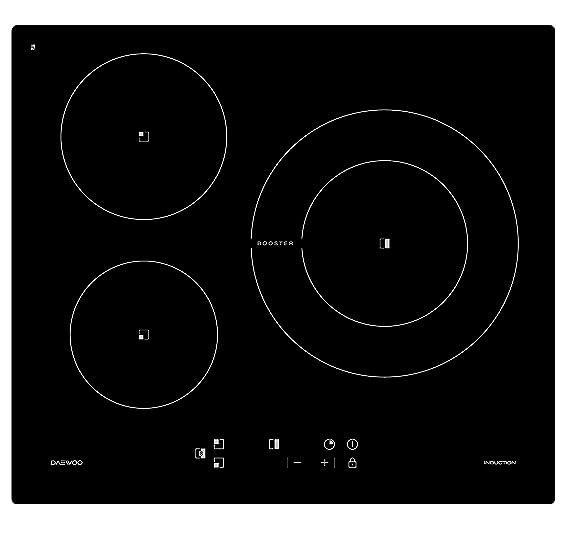 Placa inducción DAEWOO KCI630S00 3 zonas negro: Amazon.es ...