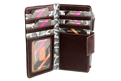 Cartera mujer B.CAVALLI moro porta tarjetas de credito abertura de boton A4710: Amazon.es: Zapatos y complementos