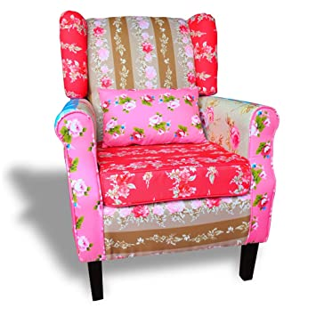 Ohrensessel patchwork  Patchwork Sessel Relaxsessel Ohrensessel Bunt Mehrfarbig: Amazon ...