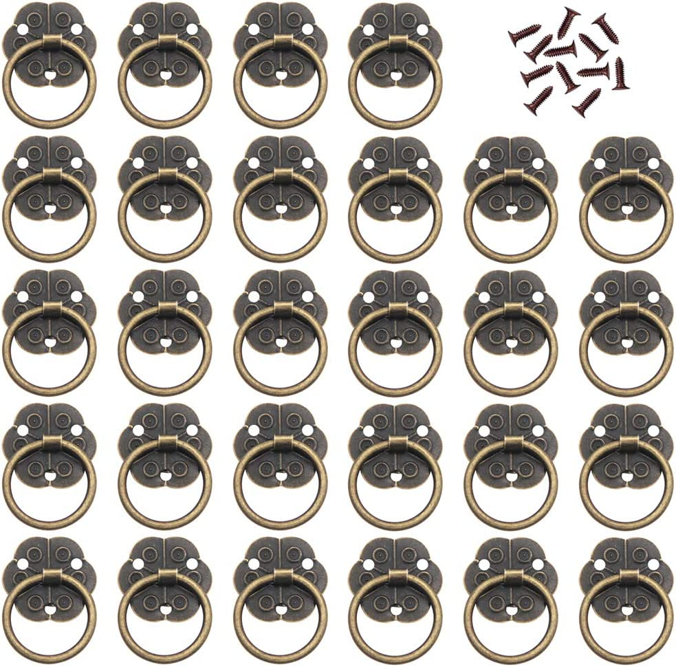 Ceqiny 30 Packs Vintage Ring Handles Rings Pulls Knob Drop Pull Handle Knob for Cabinet Antique Brass Ring Drawer Mini Pull Ring with Screws Door Pull Handle Ring Bronze Tone Home Kitchen Replacement