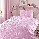 Kids Comforter Sets Twin Size, 2PCS Lightweight Cute Baby Pink Comforter Set for Teen Girls Bedroom, Pinch Pleat Pintuck Diam