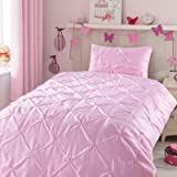 Kids Comforter Sets, 2 Pieces Pink Pintuck Comforter Sets for Girl Teen Kids Bedroom,Super Soft Light Weight Microfiber…